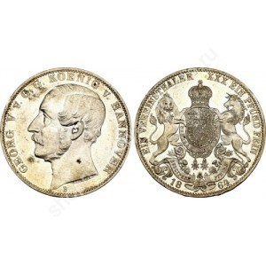 Germany Hannover 1 Taler 1864 Georg V Prooflike RRR Dav.682  Д